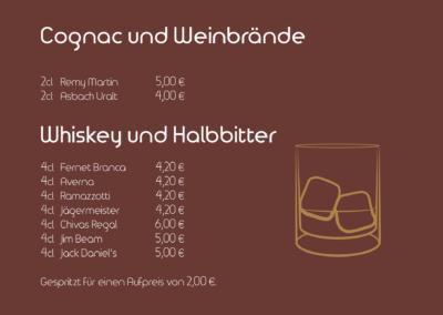Cognac, Weinbrände, Whiskey und Halbbitter